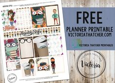 Free Printable Hipster Style Planner Stickers from Victoria Thatcher