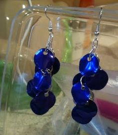Earrings made from aluminum cans. Use some for the #craft, recycle what's left! #upcycle #craft