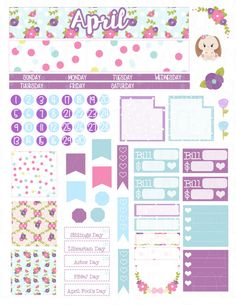 Printable Planner Stickers April Monthly Kit View by LaceAndLogos
