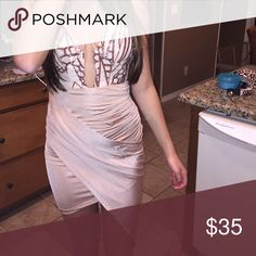 party dress!! tan/beige silk bottom with sequin top, never worn, just trying to get it off my hands morning mist Dresses