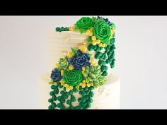 In this cake decorating tutorial, I demonstrate how to create a beautiful buttercream vine effect on a cake, with succulent looking buttercream piped flowers. Cake Decorating Tutorials, Cake Tutorial, Themed Cakes, Vines, Planter Pots, Succulents, Create, Desserts, Beautiful