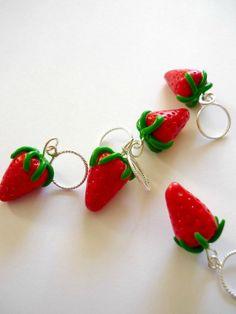 Strawberry stitch markers set of 5 snagfree by AbsoKnittingLutely, £8.00