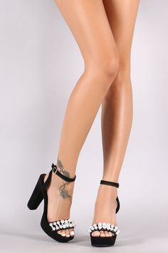 Qupid Suede Faux Pearl Ankle Strap Chunky Platform Heel