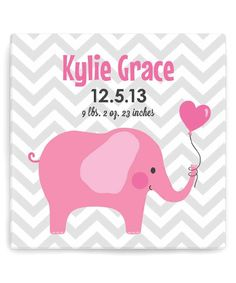 Look what I found on #zulily! Pink Personalized Elephant Canvas by Personalized Planet #zulilyfinds