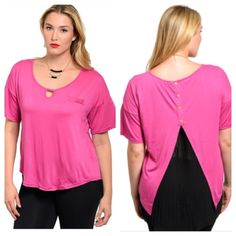 """Pink/ black top (1x 2x 3x) Pink/ black top  Length- 26"""" (longer in the back) Materials- 100% polyester. Pink top with black pleated underlay (underlay is attached). Very stretchy! Front pocket is not functional.  NWT. Brand new with tags. Availability- 1x•2x•3x 2•2•2 PLEASE do not purchase this listing. Price is firm unless bundled. No trades Tops"""