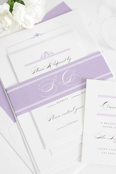 Classic and elegant damask wedding invitations in amethyst purple | Shine Wedding Invitations