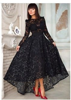 Black Lace Long Sleeve Evening Dress with Sheer Scoop Neckline Appliques High Low Formal Party Gowns Long Evening Dresses RG235