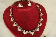 Margot De Taxco Sterling Enamel Set Necklace Bracelet Earrings