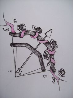 bow and arrow with roses tattoo idea