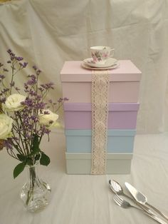 Gift boxes in pastels, so pretty!