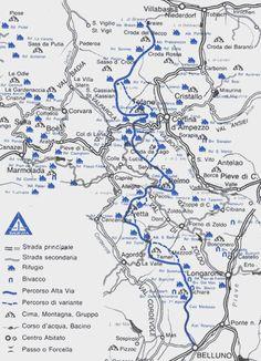 Alta Via 1 route through the Italian Dolomites.