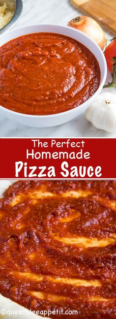 This Homemade Pizza Sauce is the perfect addition to your homemade pizza. Easy to make and packed with flavour — once you make this sauce, you'll never resort to store bought again! Pizza The Perfect Homemade Pizza Sauce Homemade Sauce, Homemade Pizza Recipe, Healthy Homemade Pizza, Making Homemade Pizza, Homemade Vanilla, Homemade Food, Canning Recipes, Pizza Recipes, Chicken Recipes