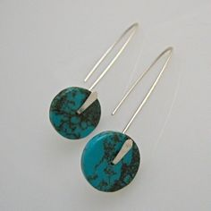 Minimalist Silver Paddle Ear Wires with Gemstone Heishi... Turquoise?