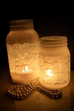 Lace Mason Jar (Small). $6.50, via Etsy.