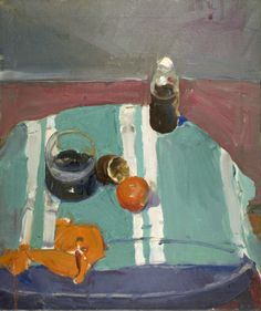 """""""Still Life with Orange peel"""" Richard Diebenkorn (unknown year) Image type: realism with distortion, seems like the tablecloth is falling from the purple table. Subject matter type: still life, typical table with orange skin and an apple. Also, a basket and a bottle close to falling over too."""