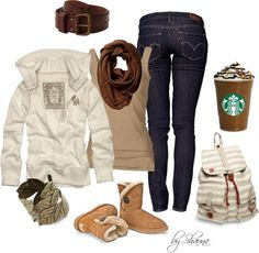 """Fall classics:Levi's, UGGS, Starbucks, and a hoodie"" by shauna-rogers ❤ liked on Polyvore"