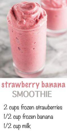 3 ingredient s… – Rana&SmoothieRecipes - Healthy smoothies Breakfast Smoothie Recipes, Easy Smoothie Recipes, Yummy Smoothies, Healthy Strawberry Banana Smoothie, Smoothies For Kids, Healthy Morning Smoothies, Frozen Fruit Smoothie, Yogurt Smoothies, Green Smoothies