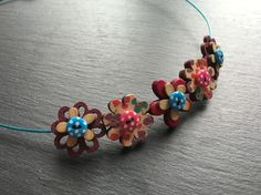 Button Necklace Wooden Flower Button Choker Turquoise Pink Purple £7.50