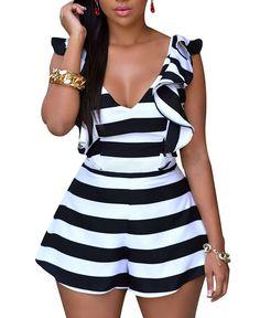 4b943944375 Amazon.com  Cfanny Women s Stripes Ruffle Sliky Backless Romper Jumpsuit  Playsuit