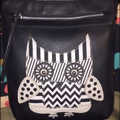 MUST HAVE-NWOT! Hippie Vegan Leather Crossbody Bag Hippie Owl crossbody bag is made of vegan leather that is so buttery soft you'll think it must be the real thing. Front of purse features an owl made up of vegan leather with silver studs and contrast stitching. The bag has a rich ultra soft feel & vintage aged look. Exterior features a Top zip closure & front zip pocket. Interior is lined in solid color fabric and features a side zip pocket and 2 slip pockets. Measurements: 9 inches tall by…