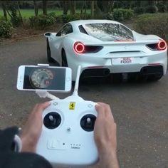 White Ferrari on display