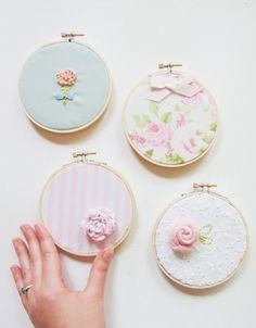Shabby Chic Embroidery Hoop Art Set Upcycled Fabric Vintage Fabric White Pink Green One of a Kind Nursery Art. $42.00, via Etsy.