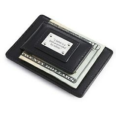 Personalized Black Leather Money Clip with Card Holder With Free Keepsake Box, Add Your Message
