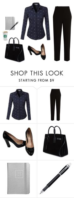 """""""Business look"""" by monika1555 on Polyvore featuring LE3NO, The Row, Miu Miu, Yves Saint Laurent and Montblanc"""