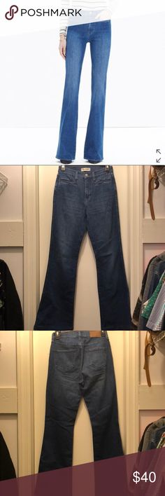 """Madewell: flea market flare jeans in kara wash This leg-lengthening jean is our own icon in the making. With a high rise and sleek welt pockets, it gives you that '70s cover-girl look—not to mention an unbeatably sweet rearview.  Premium 98% cotton/2% elastane denim from Italy's Candiani mill. Bright '70s-inspired indigo wash with a subtly worn-in look. Welt pockets. Matte silver hardware, tonal stitching. Sit above hip, fitted through hip and thigh, with a flare leg. Front rise: 9 3/4""""…"""
