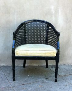 black arm chair with beige seat- $215