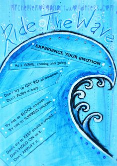 'Ride the wave' DBT Diary Art journal by Michelle MorganRide the waves of emotion, #DBT Art Journal by Michelle Morgan #Mindfulness of emotion