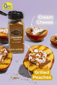 The freshest summer calls for Grilled Peaches with Cream Cheese & Cinnamon. Add a fresh summer twist to your next pickup order with mouthwatering produce from Kroger. Summer Grilling Recipes, Summer Recipes, New Recipes, Snack Recipes, Cooking Recipes, Favorite Recipes, Grilled Peaches, Summer Snacks, Desert Recipes