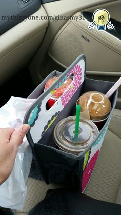 Double Duty Caddy is totally perfect for carrying Icee's, starbucks, and snacks home from a Target run without worry of an in-the-car spill!