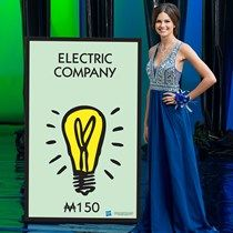 Our Monopoly Electric Company Standee has the look of the spot on the Monopoly board that everyone wants to buy. Monopoly Board, Monopoly Game, Party Props, Party Themes, Monopoly Themed Parties, Game Night Parties, Solid Black Background, Electric Company, Fun Fair