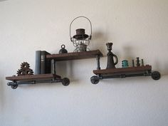 Elevated Trio Pipe Shelf by vintagepipedreams on Etsy, $239.00