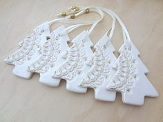 www.springwoodporcelain.etsy.com. White and gold ceramic Christmas Decorations.