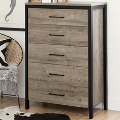 Munich 5 Drawer Chest - Create your dream decor with this modern farmhouse style chest from the Munich collection! The rich finish and black accents give it an industrial look that'll add some punch to your room. And, as a bonus, you get 5 drawers for handy storage.