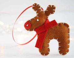 Pure wool felt reindeer decoration £9.99