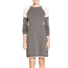 Eliza J ColorblockA-Line Sweater Dress ($98) ❤ liked on Polyvore featuring dresses, petite, long sweater dress, sweater dress, brown sweater dress, stretch dress and long stretch dress