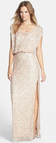 Gold sequin bridesmaid dress.