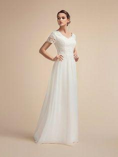 Moonlight Modesty Comfortable Chiffon Modest A-line Wedding Dress Sparkle Skirt, Modest Wedding Dresses, Chiffon Skirt, Lace Dress, Lace Bodice, Bridal Gowns, Mary's Bridal, Wedding Gowns, Dresses With Sleeves