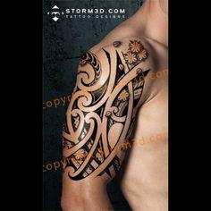 halfsleeve-maori-japanese-mix-tattoo-design-storm3d-polynesia