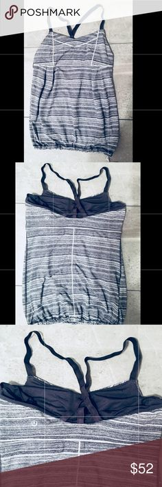 Lululemon Drawstring Tank | Space Grey | Size 6 Authentic Lululemon space grey and white tank.  Great condition! Selling one because I have two of them. lululemon athletica Tops Tank Tops