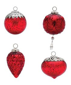 Take a look at this Large Red Mercury Glass Ornaments - Set of 12 by Foreside on #zulily today!