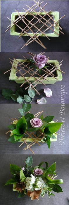 un bouquet facile réalisé à l'aide d'une grille-support