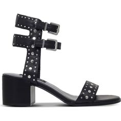 SENSO Jillie leather heeled sandals ($245) ❤ liked on Polyvore featuring shoes, sandals, black, black mid heel sandals, studded shoes, mid heel sandals, black block heel sandals and black open toe shoes