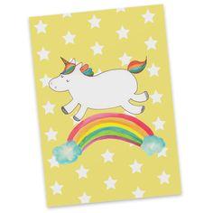 Postkarte Einhorn Regenbogen aus Karton 300 Gramm  weiß - Das Original von Mr. & Mrs. Panda.  Diese wunderschöne Postkarte aus edlem und hochwertigem 300 Gramm Papier wurde matt glänzend bedruckt und wirkt dadurch sehr edel. Natürlich ist sie auch als Geschenkkarte oder Einladungskarte problemlos zu verwenden. Jede unserer Postkarten wird von uns per hand entworfen, gefertigt, verpackt und verschickt.    Über unser Motiv Einhorn Regenbogen  Das Regenbogen-Einhorn sieht nicht nur richtig…