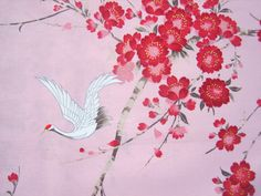 Crane Sakura Cherry Blossom Fabric Cotton Japanese by kawaiibeads, $7.00