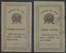 Peru 1913 Sellos Oficiales Sc Unlisted Drummond OS8 Dos Sellos Tonos Mint Y Usados