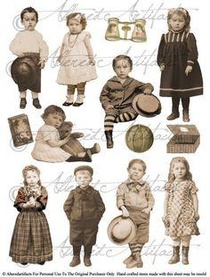 Vintage Printable Sepia Paper Doll Puppet Printable Steampunk Paper Dolls Photo Tinprints Digital Co Motif Vintage, Vintage Prints, Vintage Clip, Images Vintage, Vintage Pictures, Vintage Ephemera, Vintage Paper, Foto Transfer, Looks Vintage